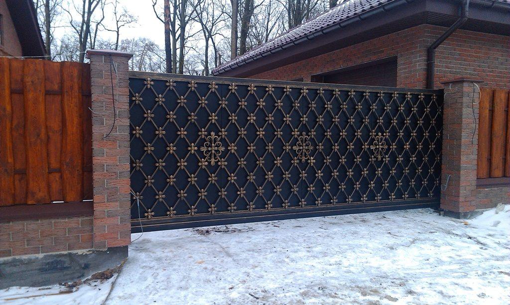 Откатные кованые ворота Тип 1