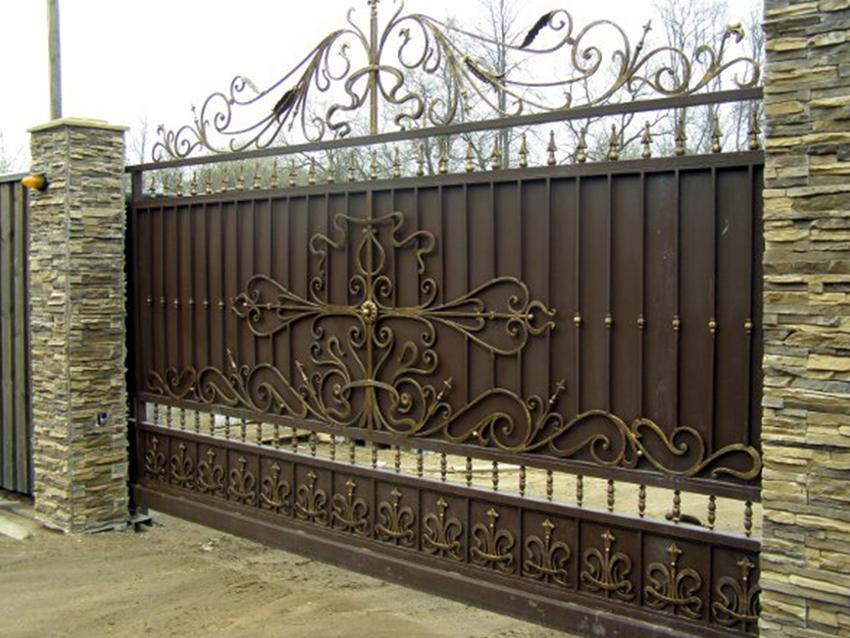 Откатные кованые ворота Тип 2