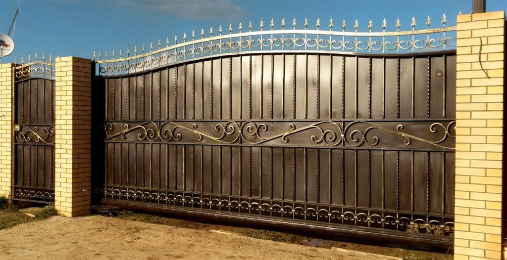 Откатные кованые ворота Тип 4