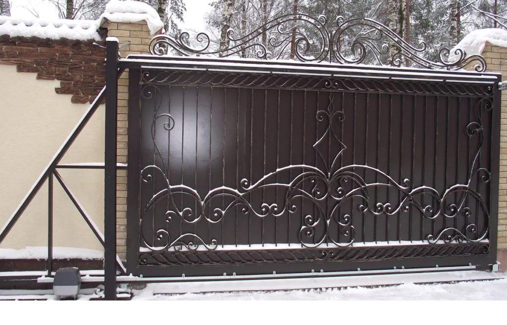 Откатные кованые ворота Тип 5